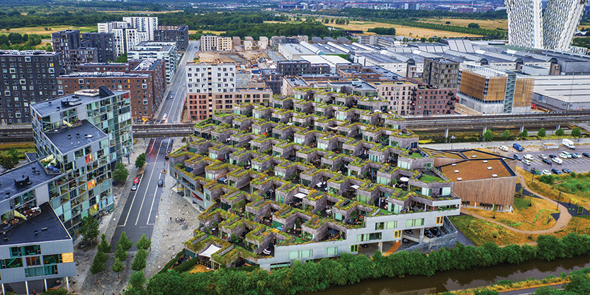 A pyramid of mountain houses in Copenhagen