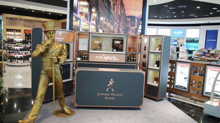 DUBAI, UAE - JANUARY 22, 2016: Johnnie Walker whiskies on display at Dubai Duty Free area in Dubai International Airport; Shutterstock ID 534092119; Departmental Cost Code : 162800; Project Code: GBLMKTg; PO Number: GBLMKT; Other: