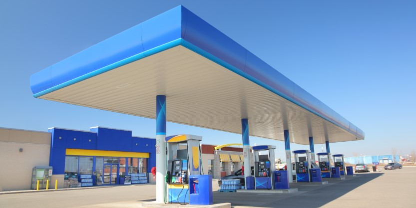 Blue filling station